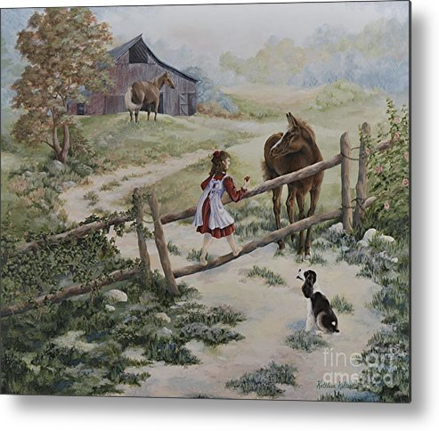 Farm Metal Print featuring the painting At the Farm by Kathleen Keller