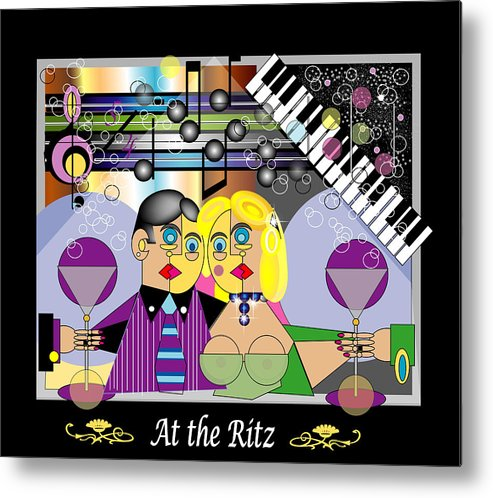 Mgiclee Metal Print featuring the digital art At the Ritz Bar by George Pasini