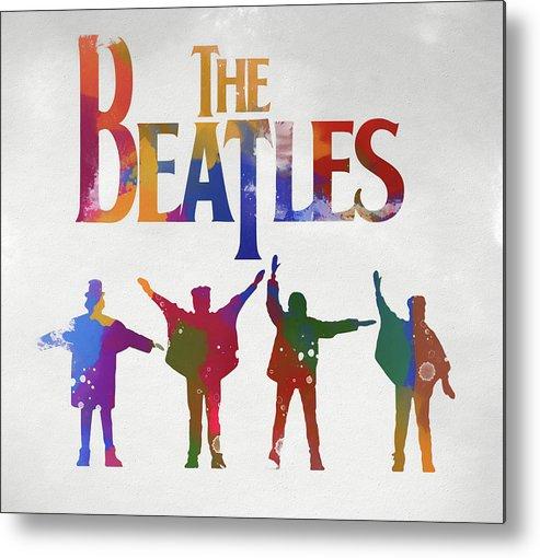 Beatles Watercolor Poster Metal Print featuring the painting Beatles Watercolor Poster by Dan Sproul