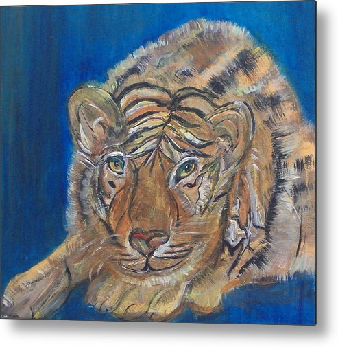 Tiger Metal Print featuring the painting Contented Tiger by Mikki Alhart