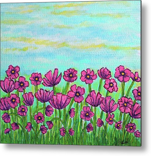 Cosmos Metal Print featuring the painting Crazy for Cosmos by Lisa Lorenz