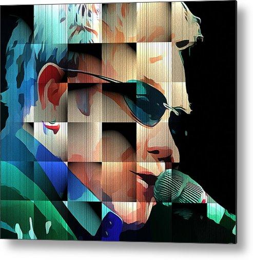 Elton Metal Print featuring the digital art Elton John in Cubes 1 by Yury Malkov