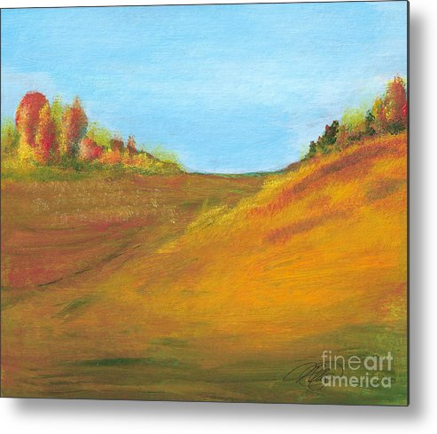 Landscape Metal Print featuring the painting Fields in Fall by Vi Mosley