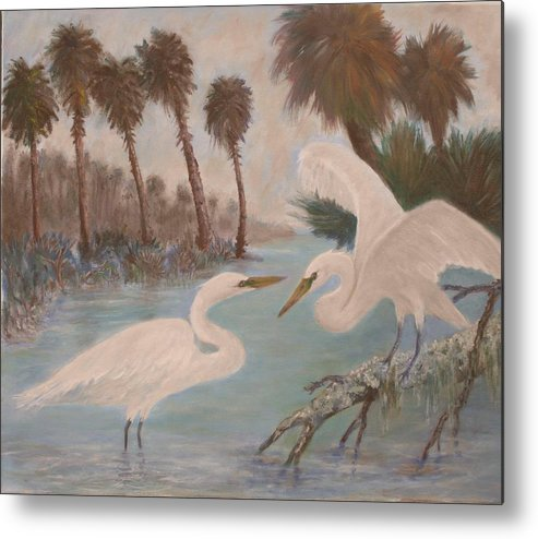Egret Metal Print featuring the painting First Meeting by Ben Kiger