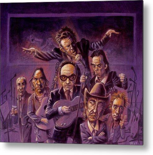 Leonard Cohen Metal Print featuring the painting Golden Throats by Ken Meyer jr