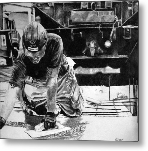 Military Metal Print featuring the drawing Hard Hands Heavy Heart Head High by Darcie Duranceau