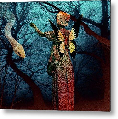 Snake Temptation Girl Wings Butterfly Woods Fantasy Landscape Woman Metal Print featuring the digital art Hey Little Girl... by Veronica Jackson
