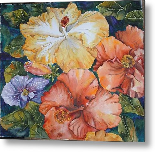 Watercolor Metal Print featuring the painting Hibiscus by Diane Ziemski