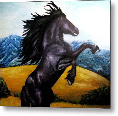 Horse Metal Print featuring the painting Horse oil painting by Natalja Picugina