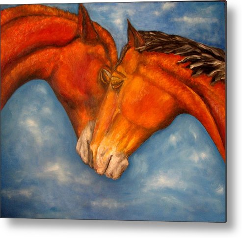Horses Metal Print featuring the painting Horses in love.Oil painting by Natalja Picugina