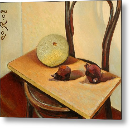 Still-life Interior Desiccated Fruit Chair Metal Print featuring the painting It's beautiful desiccated fruit by Raimonda Jatkeviciute-Kasparaviciene