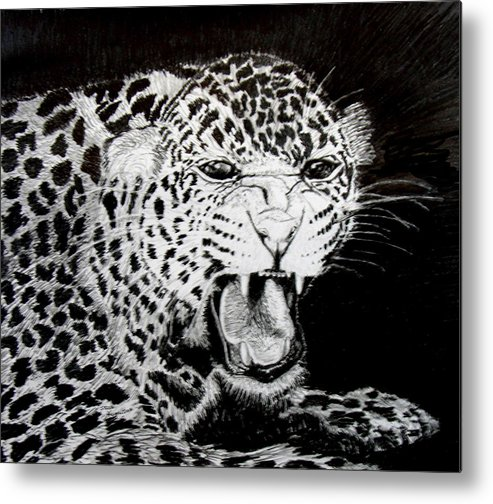 Original Drawing Metal Print featuring the drawing Jaquar II by Stan Hamilton