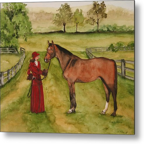 Horse Metal Print featuring the painting Lady and Horse by Jean Blackmer