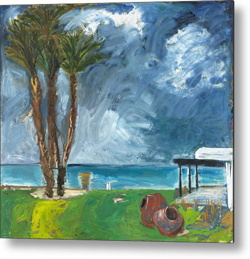 Cyprus Tree Palmtree Water Sea Blue Turquoise Green Field Grass Yellow Weather Clouds Storm Grey Whi Metal Print featuring the painting Latchi by Joan De Bot