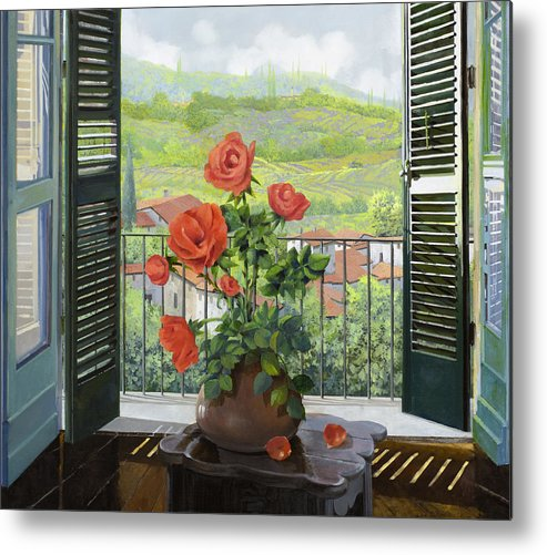 Landscape Metal Print featuring the painting Le Persiane Sulla Valle by Guido Borelli