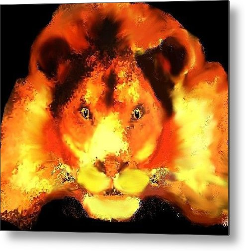 Lion Animal Orange Red Metal Print featuring the digital art Leo by Bethwyn Mills