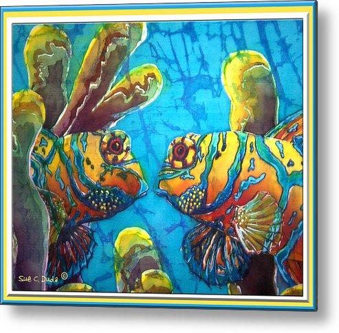 Mandarinfish Metal Print featuring the painting Mandarinfish- Bordered by Sue Duda