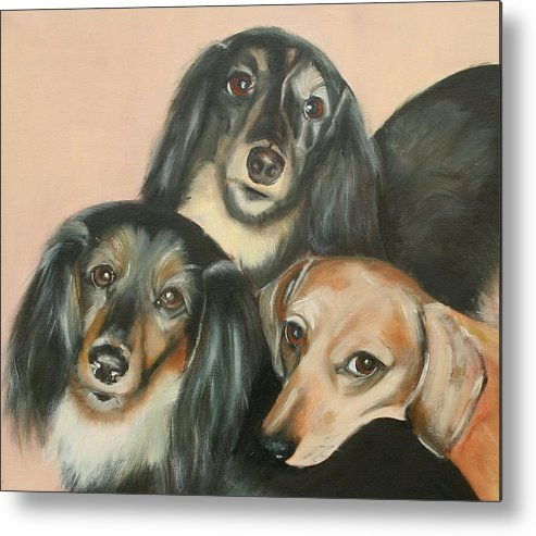 Dogs Metal Print featuring the painting Moira by Fiona Jack