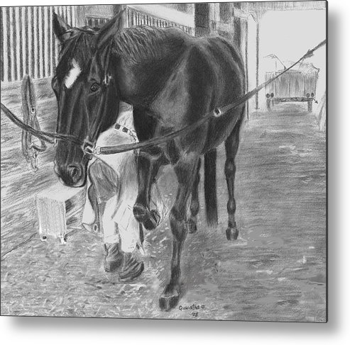 Horse Metal Print featuring the drawing New Shoes by Quwatha Valentine