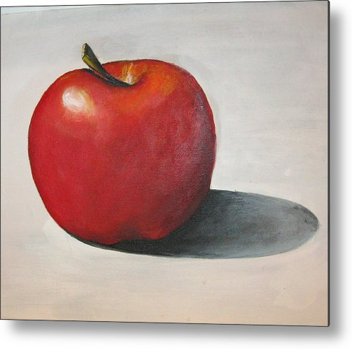 Apple Metal Print featuring the painting One Red Apple by Eileen Kasprick