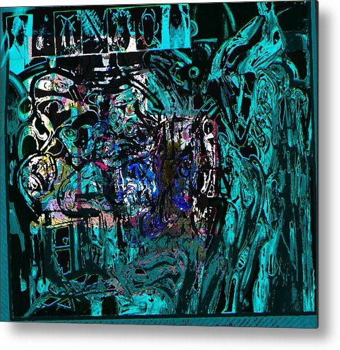 Abstract Metal Print featuring the painting P0st War by Noredin Morgan