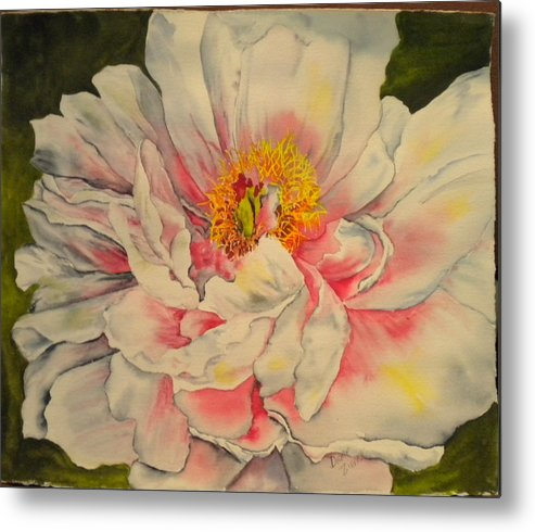 Floral Metal Print featuring the painting Peony by Diane Ziemski