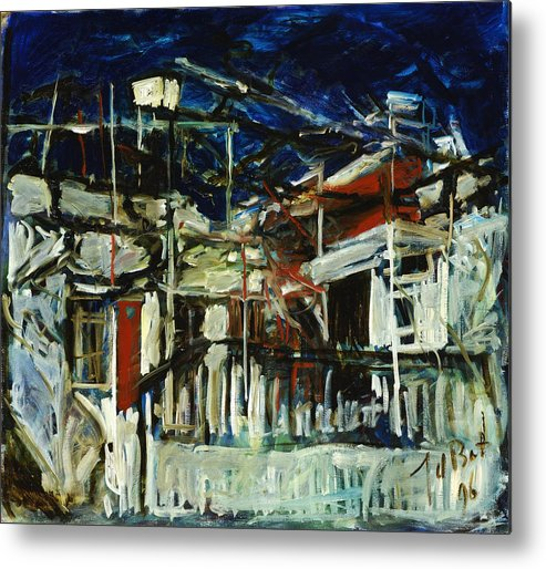 Cyprus House Night Darkness Blue White Red Village Metal Print featuring the painting Pissouri Village House by Joan De Bot