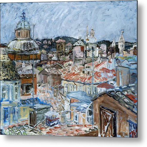 Cityscape Metal Print featuring the painting Roofs of Rome by Joan De Bot