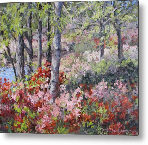 Azaleas Metal Print featuring the painting Stars of Spring by L Diane Johnson