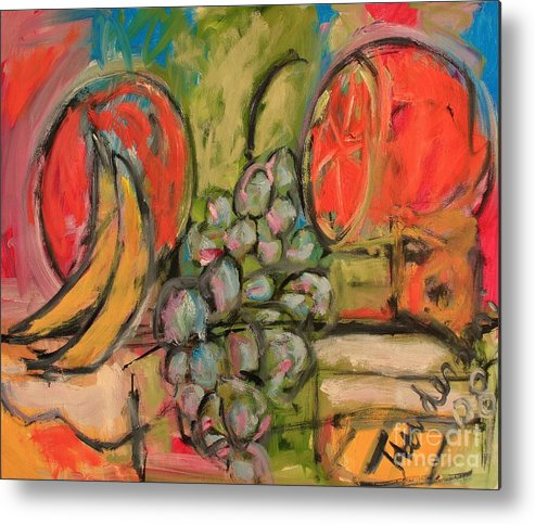 Stil Life Metal Print featuring the painting Still Life with Big Orange by Michael Henderson