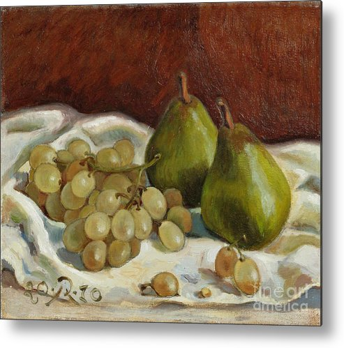 Still Life Metal Print featuring the painting Still Life with French Grapes by Raimonda Jatkeviciute-Kasparaviciene
