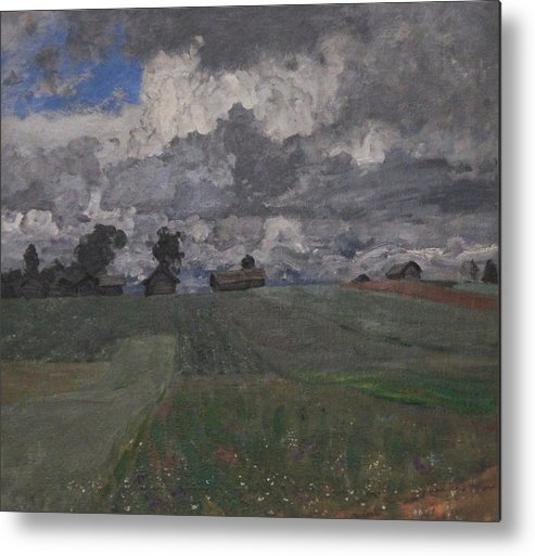 Isaac Levitan Metal Print featuring the painting Stormy Day by Isaac Levitan