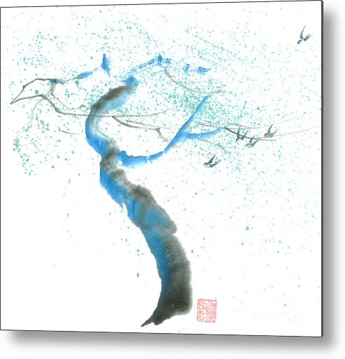 A Swaying Tree With Birds Metal Print featuring the painting Strong Wind by Mui-Joo Wee