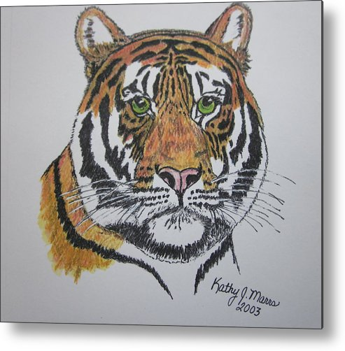 Bengal Metal Print featuring the painting Tiger by Kathy Marrs Chandler