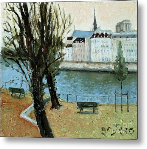 Landscape Metal Print featuring the painting Trees by the River by Raimonda Jatkeviciute-Kasparaviciene
