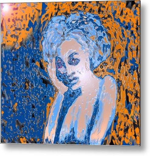 Woman Metal Print featuring the digital art Troubled Woman by Ian MacDonald
