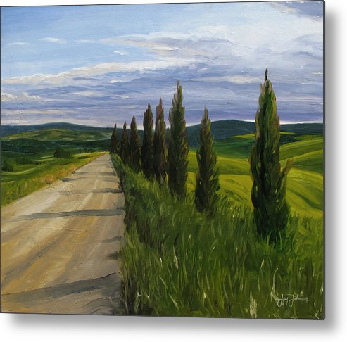 Metal Print featuring the painting Tuscany Road by Jay Johnson