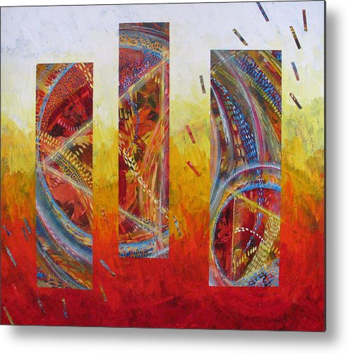 Abstract Metal Print featuring the painting White Hot by Rollin Kocsis