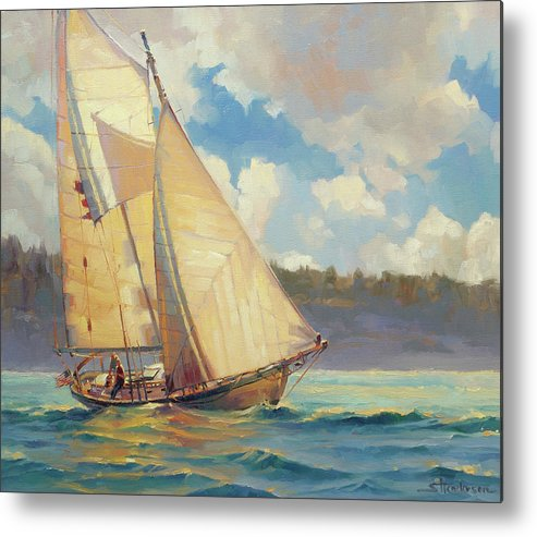 Sailboat Metal Print featuring the painting Zephyr by Steve Henderson