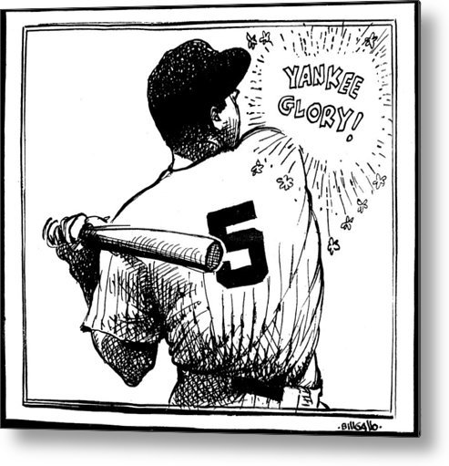 People Metal Print featuring the photograph Cartoon New York Yankees Joe Dimaggio by New York Daily News Archive