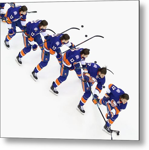 National Hockey League Metal Print featuring the photograph Los Angeles Kings V New York Islanders by Bruce Bennett