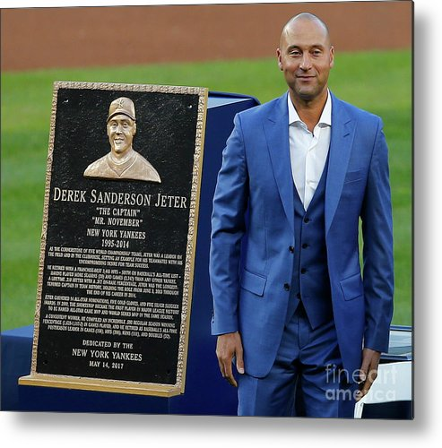 Three Quarter Length Metal Print featuring the photograph Derek Jeter Ceremony by Rich Schultz