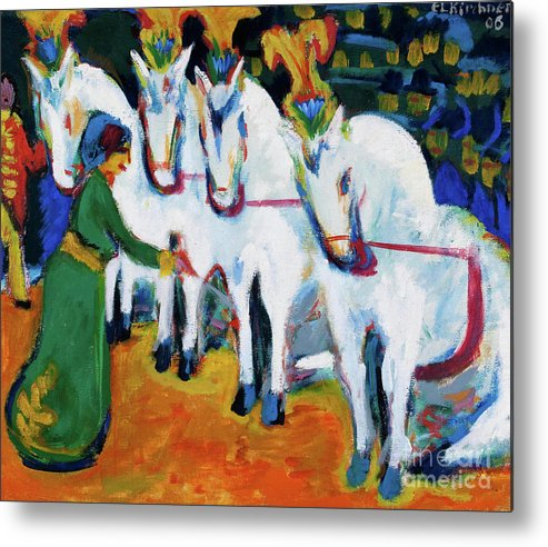 Horse Metal Print featuring the drawing Circus Horses Dressage by Heritage Images