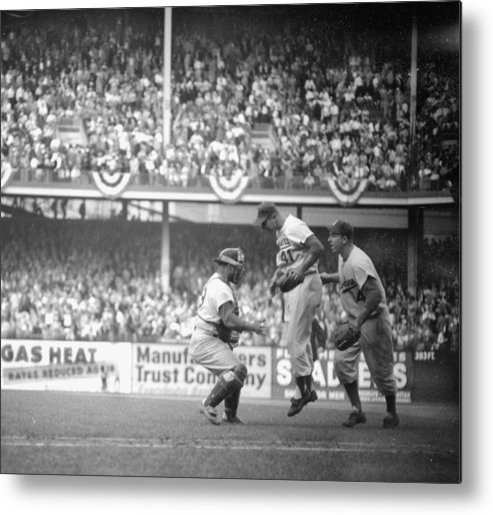 American League Baseball Metal Print featuring the photograph Clem Labine Center Is The Happiest Man by New York Daily News Archive