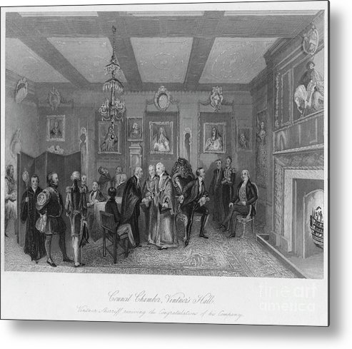Engraving Metal Print featuring the drawing Council Chamber, Vintners Hall. Vintner by Print Collector