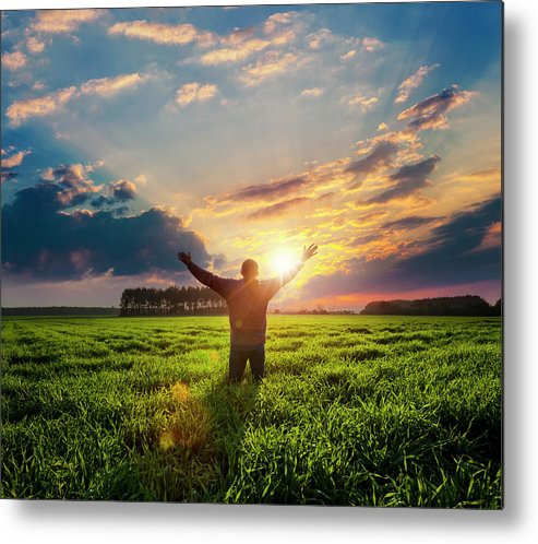 Human Arm Metal Print featuring the photograph Free Man With Raised Hands by Avalon studio
