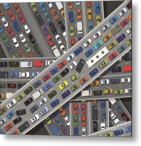 Land Vehicle Metal Print featuring the digital art Gridlock by Timoph