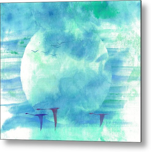 Majestic Cranes Journey Beyond Where Eyes Can See. The Painting Is Done With Watercolor On Rice Paper By Mui-joo Wee In Simple Contemporary Brush Strokes Metal Print featuring the painting Journey Beyond by Mui-Joo Wee