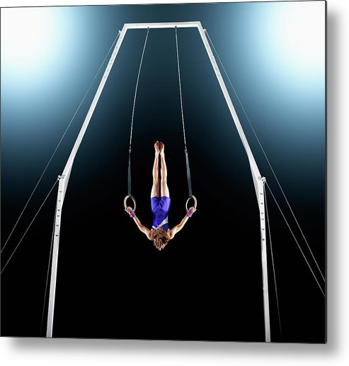 Focus Metal Print featuring the photograph Male Gymnast Upside Down Performing On by Robert Decelis Ltd