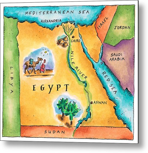 Watercolor Painting Metal Print featuring the digital art Map Of Egypt by Jennifer Thermes